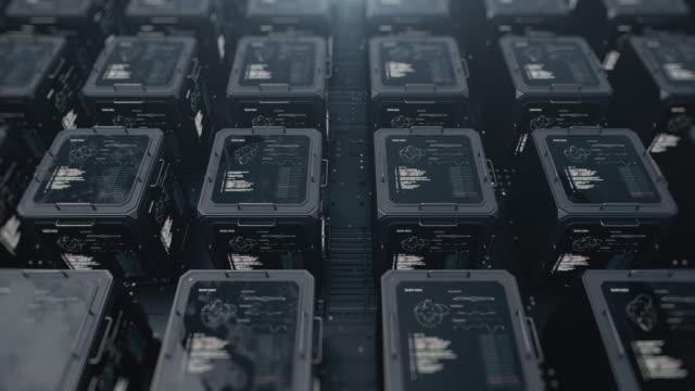 stockvideo's en b-roll-footage met panorama van digitale objecten in de vorm van kubussen. opslag van digitale gegevens. computer centrum. - kunstmatig