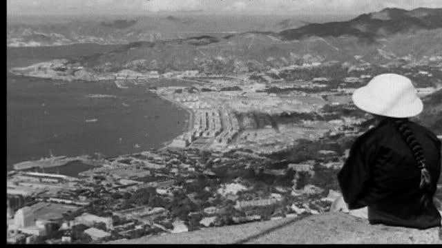 1938 panorama of hong kong harbor - hongkong stock-videos und b-roll-filmmaterial
