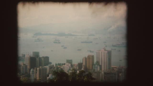 panorama of hong kong, vintage super 8 - hong kong stock videos & royalty-free footage