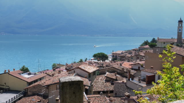 panorama of limone sul garda, lake garda, italy - lake stock videos & royalty-free footage
