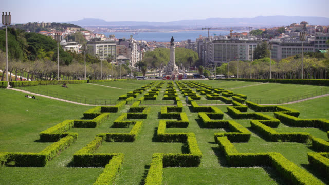 vídeos y material grabado en eventos de stock de panorama of lisbon with park - eduardo vii park