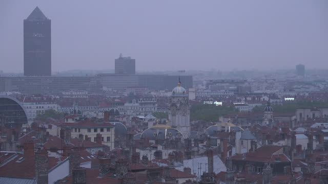 Panorama of Lyon with Tower Tour Part Dieu