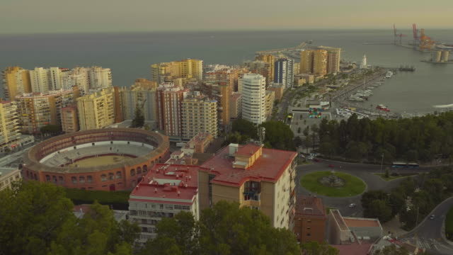panorama of malaga - amphitheater stock videos & royalty-free footage