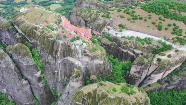 panorama of meteora / kalabaka, greece - steep stock videos & royalty-free footage