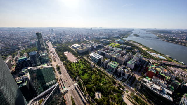 panorama of national assembly building and city buildings near han river / yeouido, seoul, south korea - national assembly stock videos & royalty-free footage