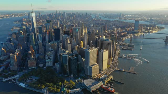 panorama of new york at sunrise - manhattan financial district stock videos & royalty-free footage