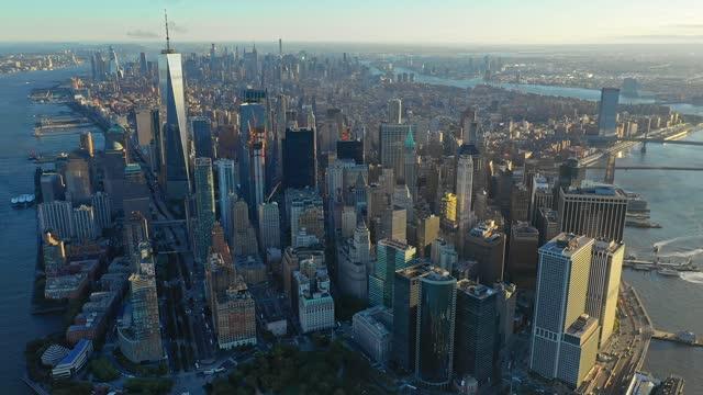 panorama of new york at sunrise - midtown manhattan stock videos & royalty-free footage