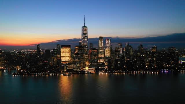 panorama of new york at sunrise - world trade center manhattan stock videos & royalty-free footage