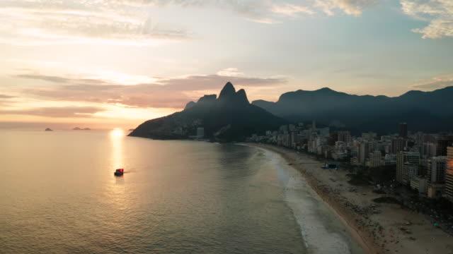 panorama of rio de janeiro at twilight, brazil. ipanema beach at sunset. rio de janeiro - copacabana beach stock videos & royalty-free footage