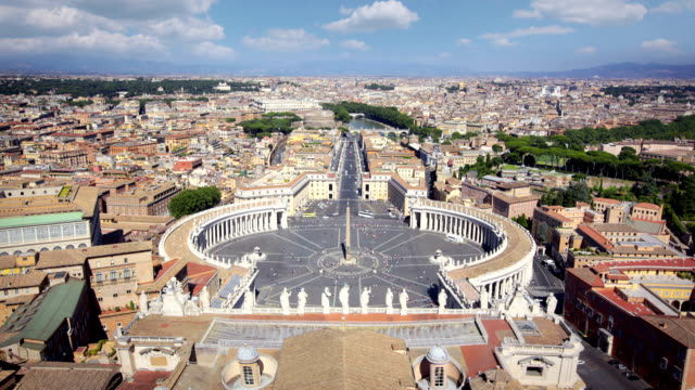 panorama of saint peters square and across rome, italy - state of the vatican city stock videos & royalty-free footage