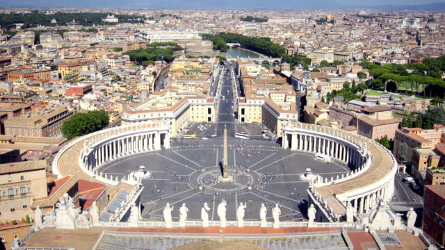 panorama of saint peters square and across rome, italy - square stock videos and b-roll footage