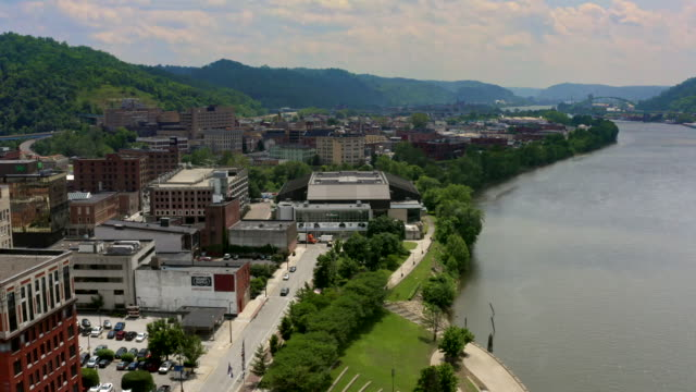 panorama of small town wheeling west virginia, ohio river and appalachian mountains - ohio stock videos & royalty-free footage