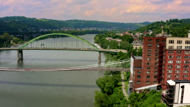 panorama of small town wheeling west virginia, ohio river and appalachian mountains - coal mine stock videos & royalty-free footage