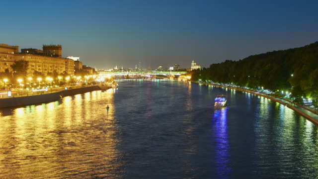 Panorama of the city at dusk with river traffic in the foreground