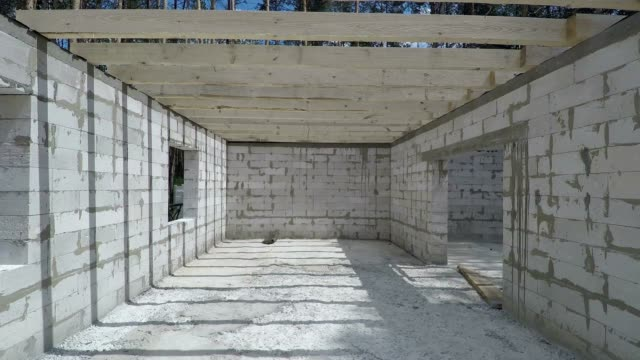 Panorama of the construction site of a residential building.