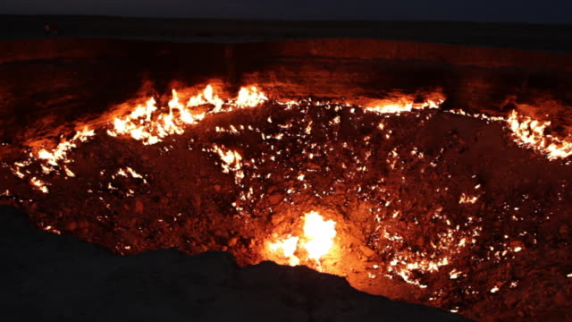 "panorama of the gas site burning at the ""door to hell"" or darvaza crater in turkmenistan - burning stock videos & royalty-free footage"