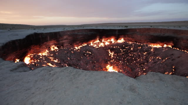 "panorama of the gas site burning at the ""door to hell"" or darvaza crater in turkmenistan - gas stock videos & royalty-free footage"