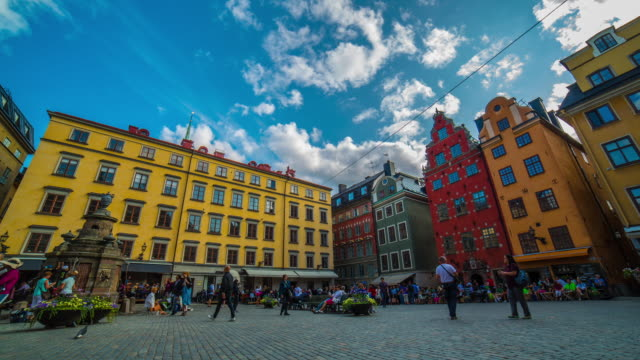 panorama of the old town in stockholm - old town stock videos & royalty-free footage