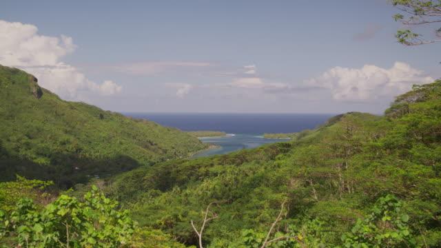panorama of tropical island - huahine island stock videos and b-roll footage