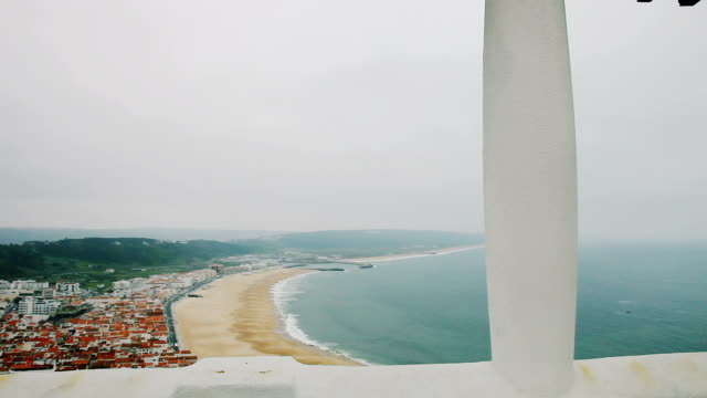 Panorama to the beach in Nazaré, Portugal