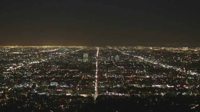 vídeos y material grabado en eventos de stock de panorama view at night, los angeles/ usa - panorámica
