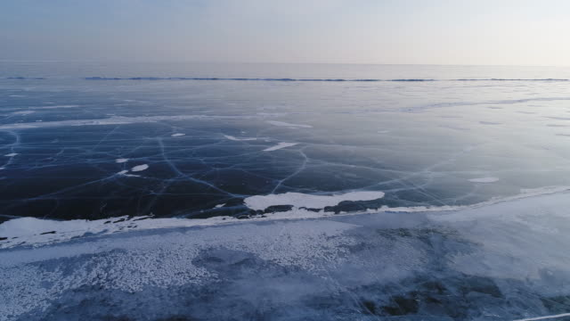 vidéos et rushes de panorama view from the height of the frozen lake baikal - glacé