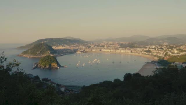Panorama view of San Sebastian city during sunset