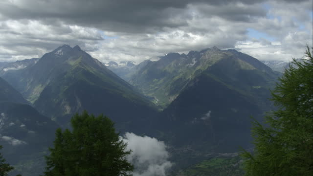 Panorama view of some mountains in the alps