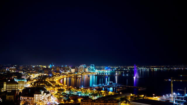 tl panorama view of the night baku city / azerbaijan, baku - baku video stock e b–roll