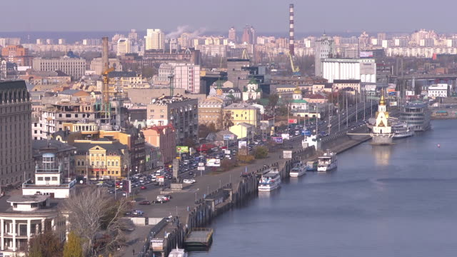 panorama view riverport - ukraine stock videos & royalty-free footage