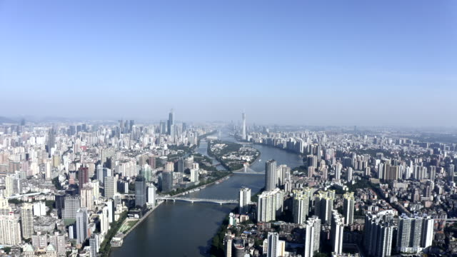 panoramic aerial photography of guangzhou city - guangzhou stock videos & royalty-free footage
