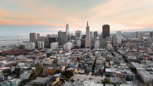 Panoramic Aerial Sunset View of San Francisco New Emerging Downtown Skyline.