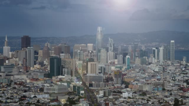 panoramic aerial towards san francisco downtown skyline - san francisco california stock videos & royalty-free footage