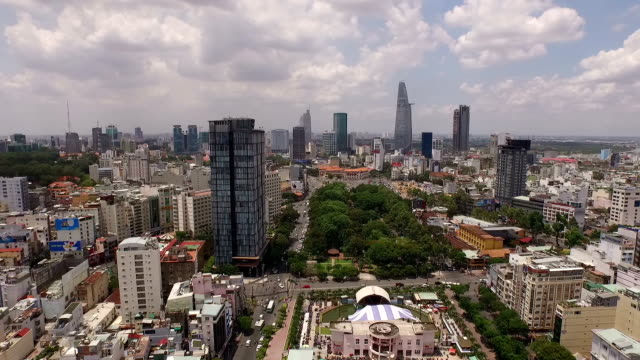 panoramic aerial view above energetic ho chi minh city, vietnam - vietnam stock videos & royalty-free footage