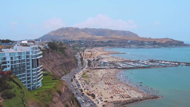 Panoramic aerial view of Chorrillos Bay in Lima, Peru