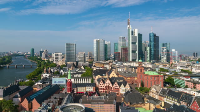 panoramic aerial view of frankfurt urban skyline, 4k time lapse (zoom out) - frankfurt main stock videos & royalty-free footage