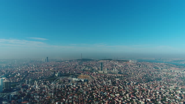 panoramic aerial view of istanbul city buildings - business and finance district - istanbul stock videos & royalty-free footage