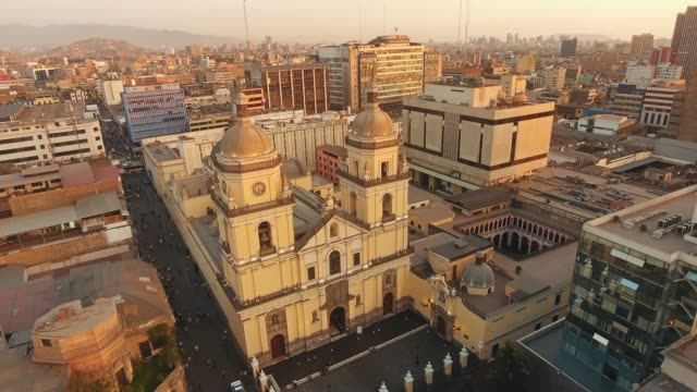 panoramic aerial view of lima, peru basilica and convent os san pedro - lima stock videos & royalty-free footage
