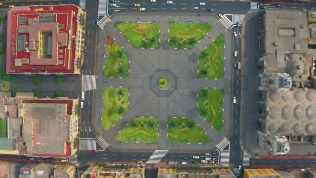panoramic aerial view of lima, peru plaza de armas - cathedral stock videos & royalty-free footage