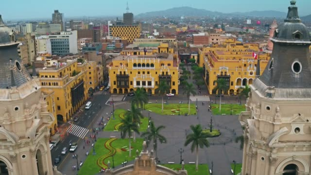 panoramic aerial view of lima, peru plaza de armas - lima peru stock videos and b-roll footage