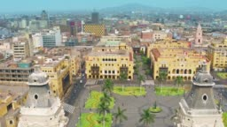 Panoramic aerial view of Lima, Peru Plaza de Armas