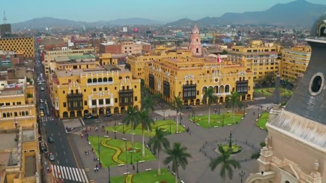 全景航空リマ、ペルー プラザ デ アルマス - リマ点の映像素材/bロール