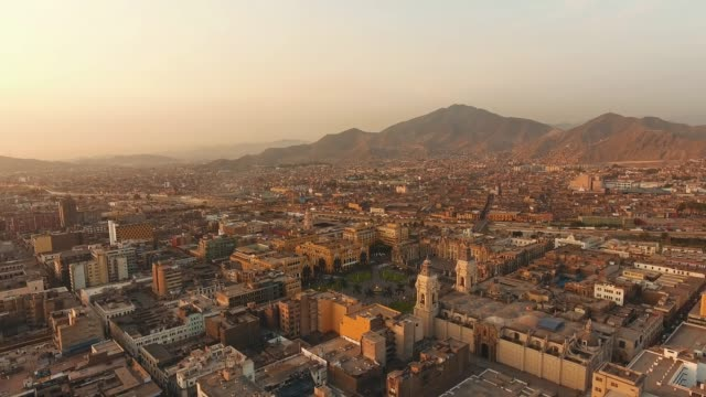 panoramic aerial view of lima, peru plaza de armas - peruvian ethnicity stock videos & royalty-free footage