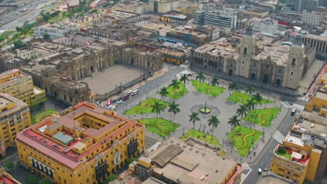 panoramic aerial view of lima, peru presidential palace at plaza de armas - peru stock videos & royalty-free footage