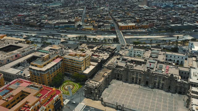 panoramic aerial view of lima, peru presidential palace at plaza de armas - mayor stock videos & royalty-free footage