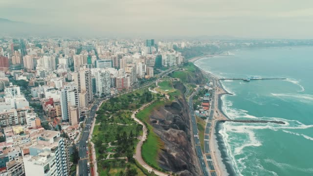 panoramic aerial view of miraflores district coastline in lima, peru. - lima stock videos & royalty-free footage