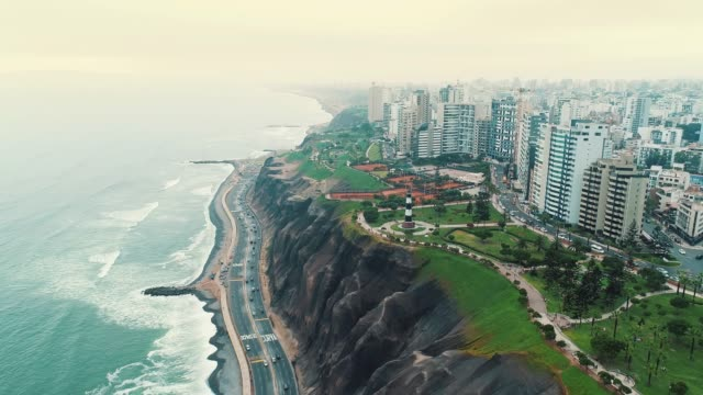 panoramic aerial view of miraflores district coastline in lima, peru. - lima peru stock videos and b-roll footage