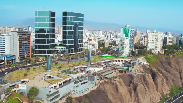 panoramic aerial view of miraflores district (larcomar) in lima, peru. - lima stock videos & royalty-free footage