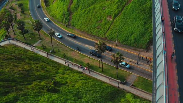 Panoramic aerial view of Miraflores town in Lima, Peru.