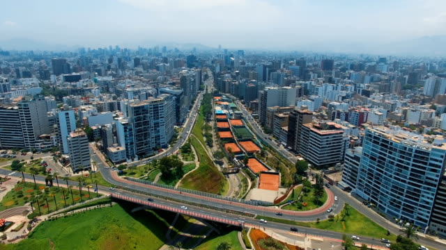 panoramic aerial view of miraflores town in lima, peru. - lima peru stock videos and b-roll footage